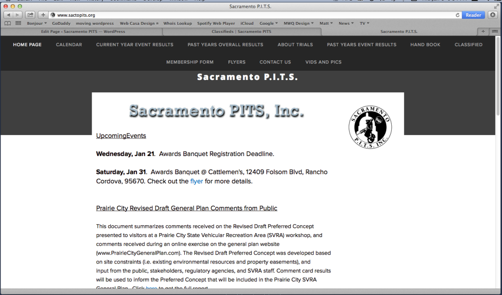 Website before above redesign
